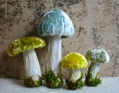 Hand Dyed Silk Velvet - Handmade Woodland Forest Mushrooms #WoodlandChristmas Aqua and Greens