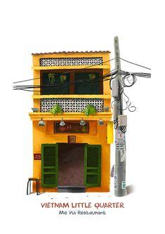 Vietnam Little Quarter I Kín Illustration Indian Illustration, Car Illustration, Posca Art, Building Illustration, Ex Machina, Colorful Artwork, Visual Development, Urban Sketching, Environment Design