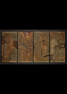 Halio Archeopetro (Fossilised Sea Bed) Etched brass, archival epoxy coating Four panels: 200 x 100 cm each Edition of 2 + 1 AP Kenyan Artists, Stained Table, Led Fixtures, Epoxy Coating, Crystal Ball, Natural World, Water Features, Brass, Sculpture