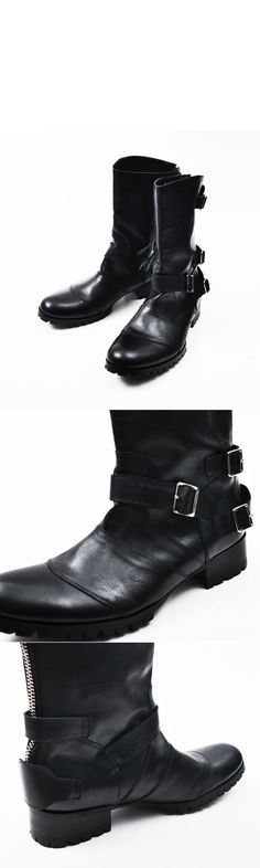 Runway Edge Crust Triple Belted Boots-Shoes 147 - Mens Fashion Clothing For An Attractive Guy Look