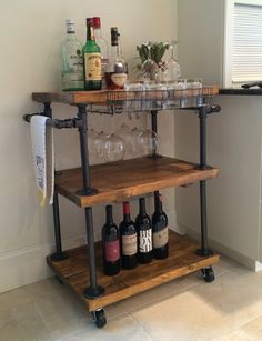 """Visit our website for additional relevant information on """"gold bar cart decor"""". It is actually an exceptional location to read more. Diy Bar Cart, Bar Cart Decor, Bar Cart Wood, Bar Carts, Bar Trolley, Mini Bars, Industrial Bar Cart, Home Bar Accessories, Sweet Home"""