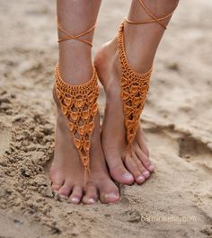 Crochet Gold Barefoot Sandals Nude shoes Foot bohemian by barmine
