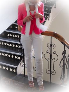 A white linen scarf adds a great touch to a pink blazer!