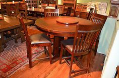 Rustic Distressed Reclaimed Solid Wood Round Dining Table and set of 4 Dining Ch