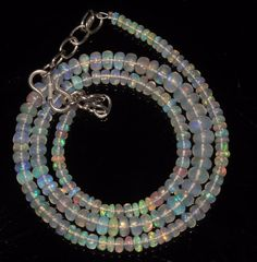 """44 CTW 3-5.5 MM 16""""NATURAL GENUINE ETHIOPIAN WELO FIRE OPAL BEADS NECKLACE-95072"""