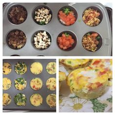 Scrambled Egg Muffins Top picture, left to right: hash browns and sausage, spinach and mushrooms, pico de gallo and migas. Cook the hashbrowns and sausage before putting in the muffin tin. Pico de gallo: tomatoes, jalapeños, onion and cilantro Migas: diced corn tortilla lightly fried in canola oil, onion, jalapeño, tomato and bell pepper Pour the scrambled eggs over the mixture and gently stir the ingredients. Preheat the oven to 350 and cook for 15 - 18 minutes