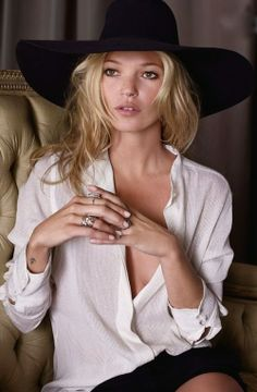 Kate Moss (Love the Hat and Flowy Blouse!)