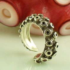Ring |  from a real octopus tentacle cast in sterling silver
