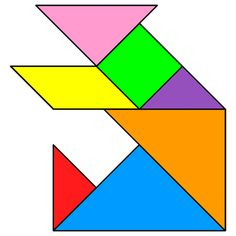 Tangram Bear - Tangram solution #50 - Providing teachers and pupils with tangram puzzle activities