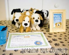 Dog/Puppy Party Favor - Adopt a puppy & certificate