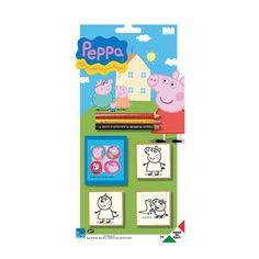 Peppa Big stempel set 5 delig. Leuke 5 delige stempelset van Peppa Big en haar vriendjes. De set bevat drie stempels, een stempelkussen en drie potloden.