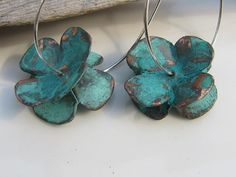 Double Dogwood Flowers Blue Green Patina Copper by Gasquetgirl