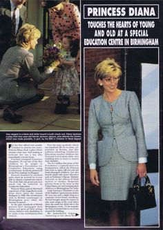 October 31, 1995:  Diana, Princess of Wales visiting as patron of Edgbaston's newly opened National Institute of Conductive Education in Birmingham.