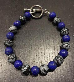 4bc1a287eb9eb1 Awareness, Power, Balance, Calming, and Grounding Bracelet - Lapis Lazuli  and Snowflake Obsidian