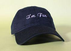 NEW Im Fun Baseball Hat Dad Hat Low Profile White by BrainDazed