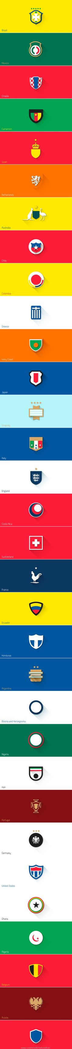 Fifa World Cup Brazil 2014 | Flat Design Shields