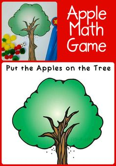 Great game for a preschool apple theme. Adaptable for older kiddos, too. Includes a free printable. Could lead into pumpkins in the patch. Preschool Apple Activities, Preschool Apple Theme, Autumn Activities For Kids, Fall Preschool, Preschool Lesson Plans, Preschool Themes, Fun Math, Math Games, Preschool Activities