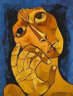 Oswaldo Guayasamín ( 1919 ) Oswaldo Guayasamin, an Ecuadorian master p. Art And Illustration, Figurative Kunst, Guache, Art Abstrait, Art Plastique, Magazine Art, Portrait Art, Art Market, American Art