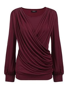 Women's Clothing, Tops & Tees, Knits & Tees, Womens Round Neck Stretchy Drape Front Tunic Blouse - Wine - Source by clothes tops Blouse Styles, Blouse Designs, Cheap Boutique Clothing, Women's Clothing, Tunic Blouse, Blouse Outfit, Shirt Blouses, Shirts, Fashion Sewing