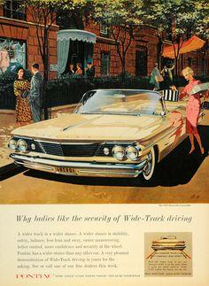 1960 Ad Tan Pontiac Bonneville Convertible Shopping - ORIGINAL ADVERTISING CARS7