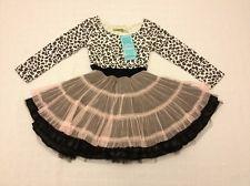 Boutique Little Mass Black White Animal Print Pink Tulle Tutu Dress Sz 4 NEW