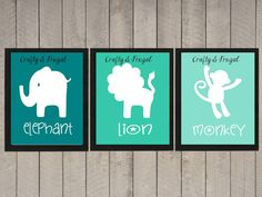 Custom Nursery Art, Set of three, safari nursery decor, Nursery wall art. $4.99, via Etsy.