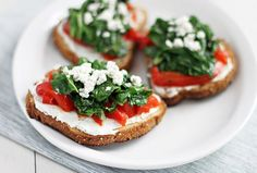 Appetizers or any old time!  Tartines.  I could make a meal out of 3-4 of these!  Nice glass of wine or an ice-cold beer!