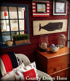 This cozy porch has just the right amount of nautical-themed items.