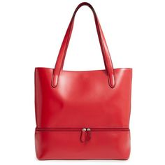 Women's Lodis Audrey Amil Leather Commuter Tote ($295) ❤ liked on Polyvore featuring bags, handbags, tote bags, red, leather handbags, leather handbag tote, red handbags, leather purses and red leather tote