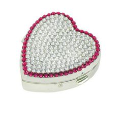 JCBling - Bling Ladies Heart Shape Pill Box and Mirror with Swarovski Crystals Style