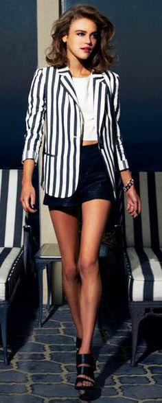 Lady Luxe: Striped Blazer via lulus.com