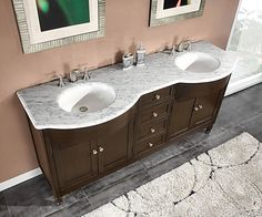 This charming, colonial style double sink vanity features two white ceramic sinks set in a white marble stone top. This vanity has an espresso finish and brushed chrome hardware.