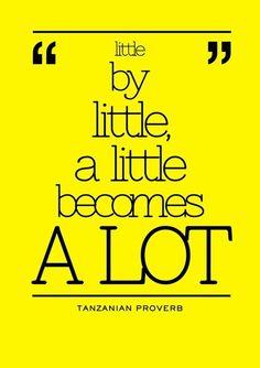 Little by little, a little becomes a lot. Tanzanian Proverb