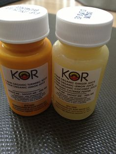 Kor Organic Wellness Turmeric and Ginger I drink both of these. I get them from whole Foods Market