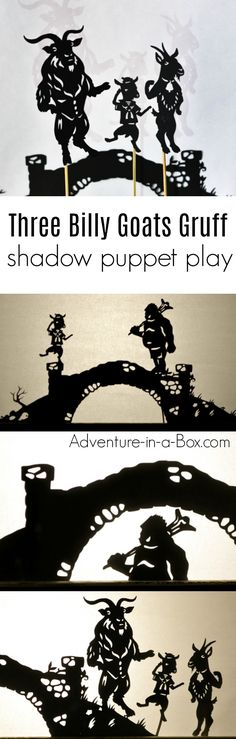Based on the Norwegian fairy-tale, these printable shadow puppets will let your kids make their version of Three Billy Goats Gruff and stage a shadow play at home or in the classroom! Creative Activities For Kids, Creative Arts And Crafts, Diy Projects For Kids, Fun Crafts For Kids, Creative Kids, Class Activities, Art Projects, Shadow Theatre, Puppet Theatre