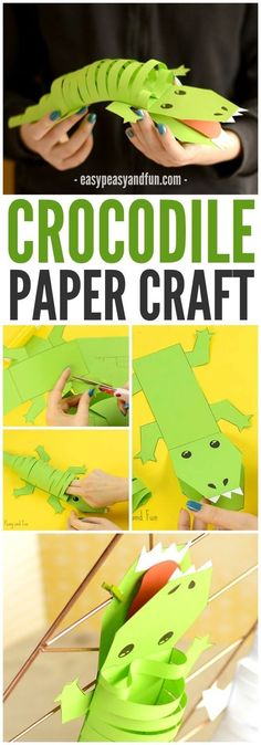 Crocodile Craft A happy green crocodile paper craft! A great jungle or zoo activity for older kids!A happy green crocodile paper craft! A great jungle or zoo activity for older kids! Animal Crafts For Kids, Paper Crafts For Kids, Animals For Kids, Preschool Crafts, Projects For Kids, Easy Crafts, Art For Kids, Arts And Crafts, Older Kids Crafts