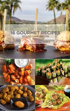 2017 Top Gourmet Recipes for Super Bowl Party. 16 Recipes including: Stuffed Mushroom Pizzas, Ginger Pork Bibb Cups, Formaggio Tater Tots, Spicy Korean-Style Meatball Bowls, Skillet Chilaquiles, Caprese Quesadillas, Buffalo Cauliflower Bites, Grilled Pull Apart Bacon Cheddar Bread, Ricotta and Prosciutto Cracker Appetizer, Ham and Jam Sliders, Baked Parmesan French Fries, The Reuben Bowl, Golden Curry Nut Mix, Crispy Rock Shrimp with Sriracha Aioli, Prosciutto Mini Quiches + Stuffed…