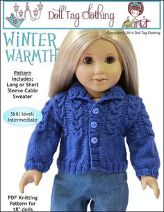 Winter Warmth sweater knitting pattern by Doll Tag Clothing from PixieFaire