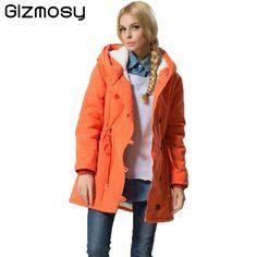 Winter Jacket Women 2017 Slim Casual Outwear Long Coat Single Breasted Hooded Jacket Femme Plus Size Cotton Padded Parkas BN798 #Affiliate