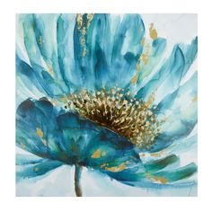 Blue Flower Canvas Wall Art - Christmas Tree Shops and That! Easy Canvas Painting, Diy Canvas Art, Oil Painting Abstract, Texture Painting, Canvas Wall Art, Wall Art Prints, Watercolor Paintings, Floral Wall Art, Arte Floral
