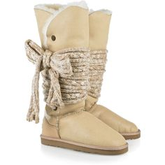 Australia Luxe Collective Mars tie-embellished sheepskin boots ($152) ❤ liked on Polyvore