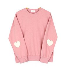 a3cde4ad2 Cute Korean Styles Pink Pastel Heart Elbow Patch Pullover Sweatshirts Size M