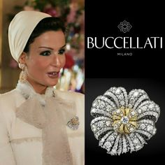 Diamonds Are Forever. Sheikha Mozah was dazzling with Buccellati diamond jewellery. She was wearing Buccellati diamond & gold brooch which I can not find the price. She was also wearing Buccellati diamond & gold earrings (check my older post), the. Diamond Jewelry, Gold Jewelry, Gold Earrings, Glass Jewelry, Elizabeth Taylor Jewelry, Luxury Lifestyle Fashion, Gold Brooches, Scarf Jewelry, Royal Jewels