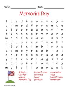 Memorial Day Activities #wordsearch RealFun!! :D