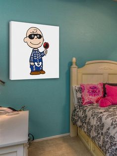Charlie Brown Candy - Peanuts Collection, Charles Schultz. Art on canvas, ready to hang. Happy Halloween! Charlie Brown dressed as a skeleton for trick or treating.