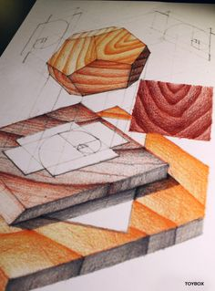 Wooden Sacred Geometry Study.  Pencil on Paper.