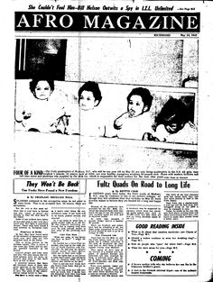 An article about the Fultz Quads in the May 24, 1947 issue of Afro Magazine.