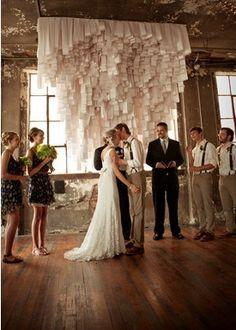 I LOVE this receipt paper altar backdrop