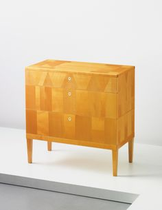CARL MALMSTEN Chest of drawers, Birch-veneered wood, birch, faux ivory. x 85 x cm x 33 x 16 in) Produced by Cabinetmaker Hjalmar Jackson, Sweden. Reverse branded with 'CM'. My Furniture, Furniture Design, Sideboard Cabinet, Cabinet Makers, Particle Board, Scandinavian Modern, Chest Of Drawers, Modern Design, Midcentury Modern