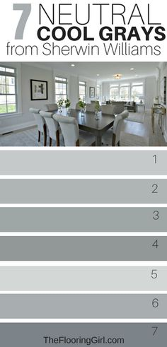 Awesome Cool Gray Paint Shades from Sherwin Williams 7 Neutral Cool gray paint colors from Sherwin Williams. 7 Neutral Cool gray paint colors from Sherwin Williams. Neutral Gray Paint, Best Gray Paint Color, Blue Gray Paint Colors, Colours That Go With Grey, Best Neutral Paint Colors, Paint Colours, Paint Colors For Living Room, Paint Colors For Home, Gray Room Paint